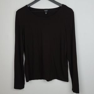 Eileen Fisher Dark Brown Long-sleeved Top Size MP